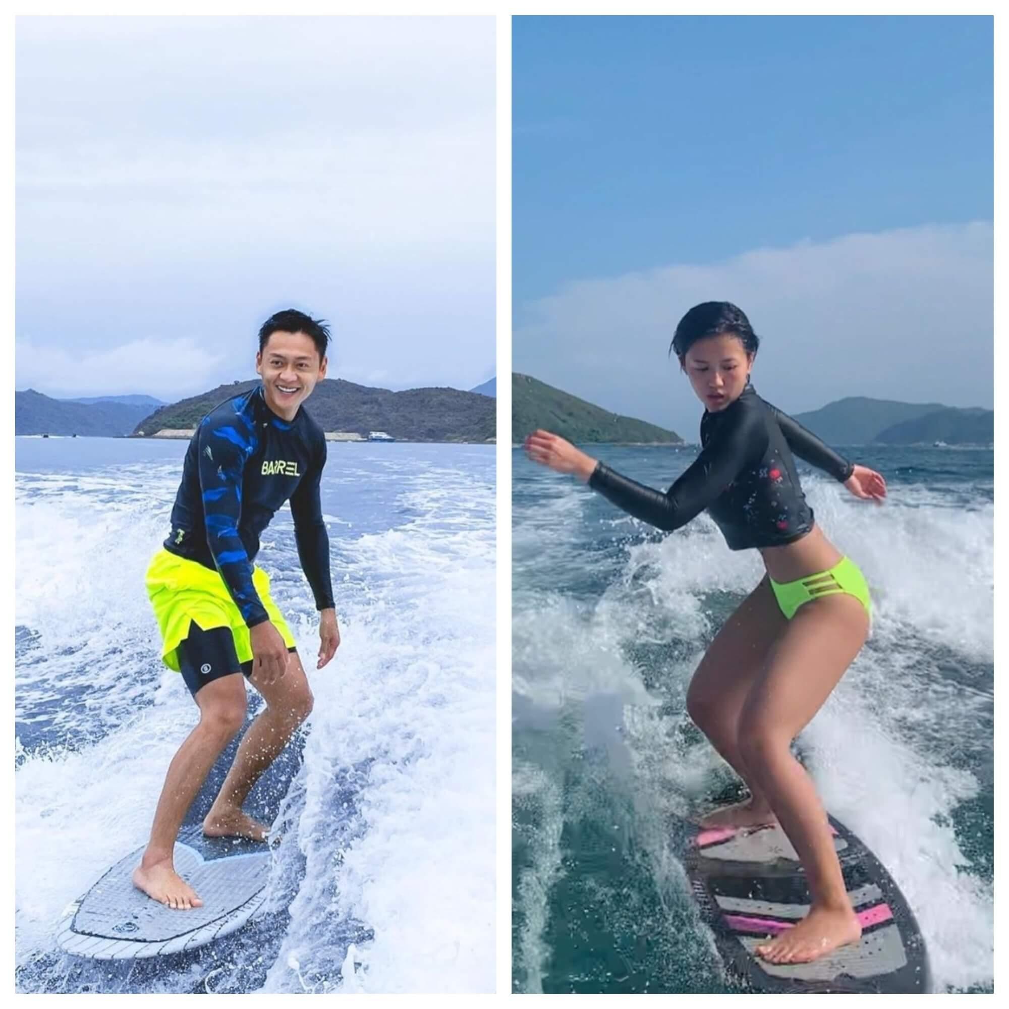 張振朗與女友楊偲泳經常相約做運動,近日更愛上滑水。