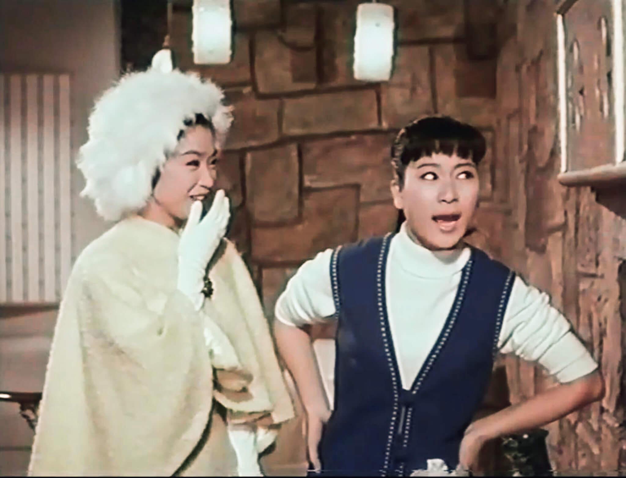 一雙黑玫瑰雖然是A城交際花姊妹,但不難聞到G城蝙蝠俠與羅賓的氣息。南紅貴氣打扮,陳寶珠一身勁裝,二人一唱一和,撲面而來是楚原的戲謔本色。寶珠迷一定愛死玉女也有俏皮一面,但真要讓她盡情耍樂,還要兩年後才等到《玉女添丁》(1968)。