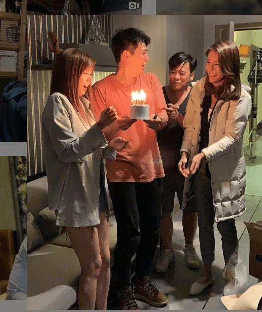 張秀文、張曦雯及韋家雄拍《木棘証人》時,特別為羅子溢慶祝生日。
