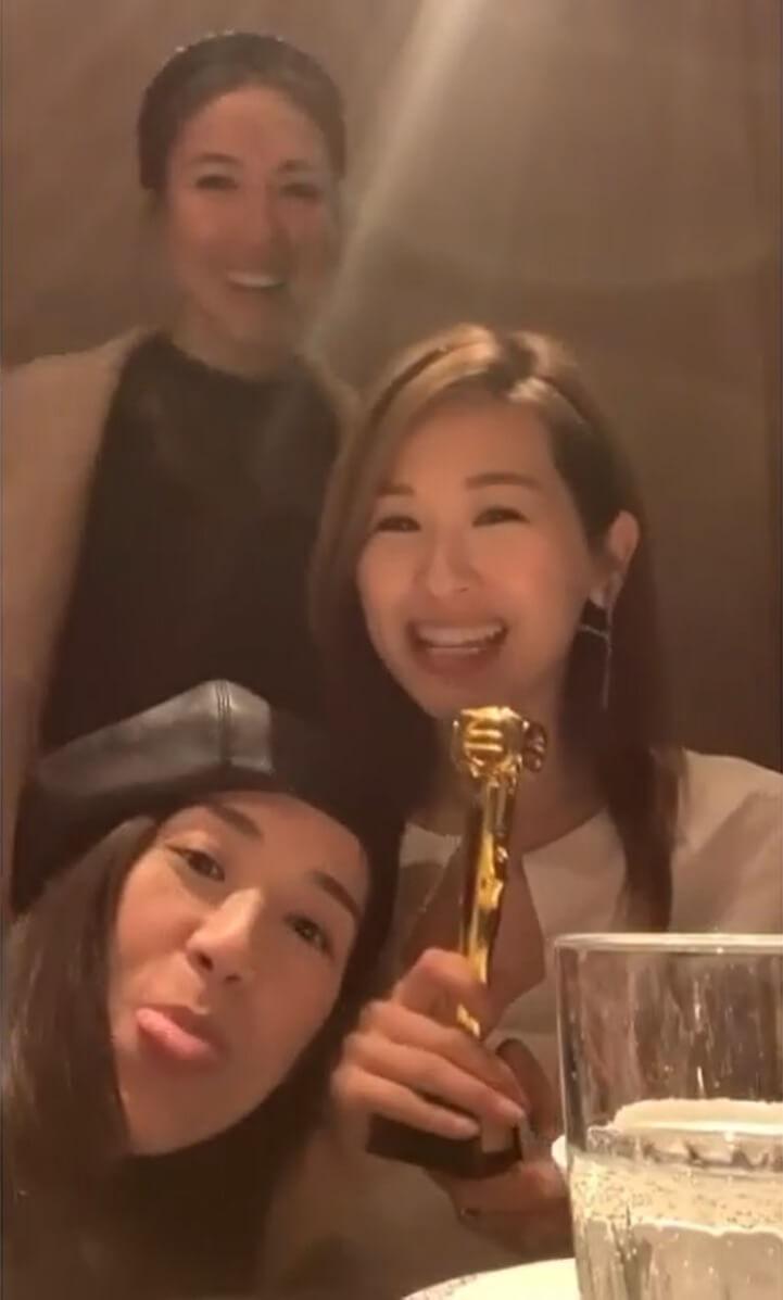趙希洛去年生日,黃智雯與李施嬅送上迷你獎座,預先向有份提名「最佳女配角」獎的她送上祝福。
