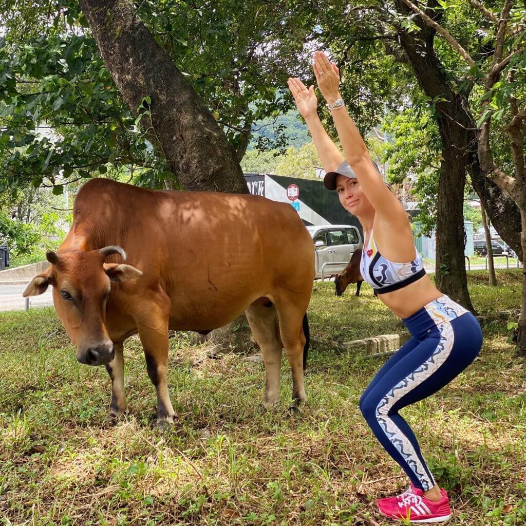 貝安琪喜歡接近大自然,尤其是在室外練瑜伽,有種人與大自然融為一體的感覺。