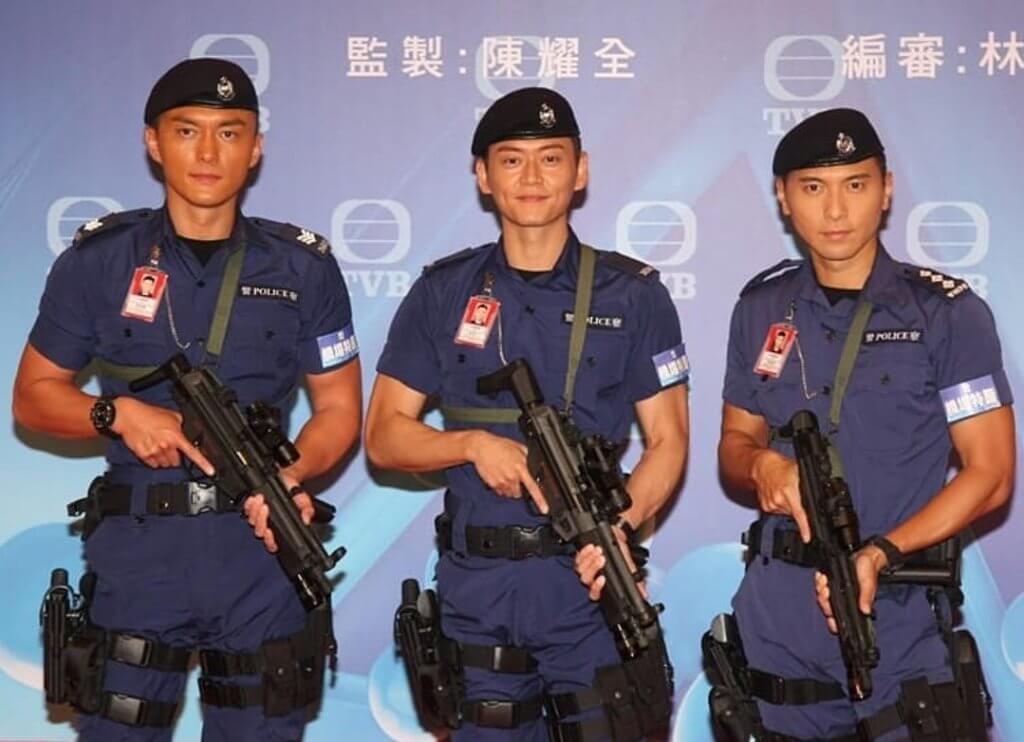 楊明、張振朗、黃子恆練大隻拍《機場特警》