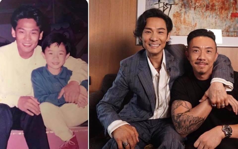 張繼聰小時候,杜德偉很疼他,兩人相隔廿年的兩張合照令人感覺好笑。