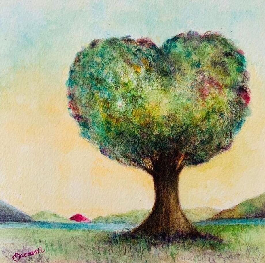 黃智賢借老婆的「樹木也懂愛」畫作示愛