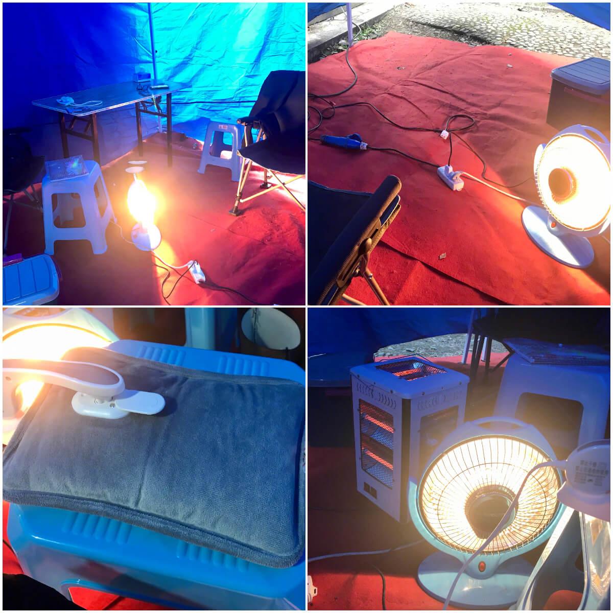 劇組在帳篷內準備了御寒保暖的用品,如暖風機、暖貼、充電暖手套、毛氈等等,令歐陽震華倍感窩心。