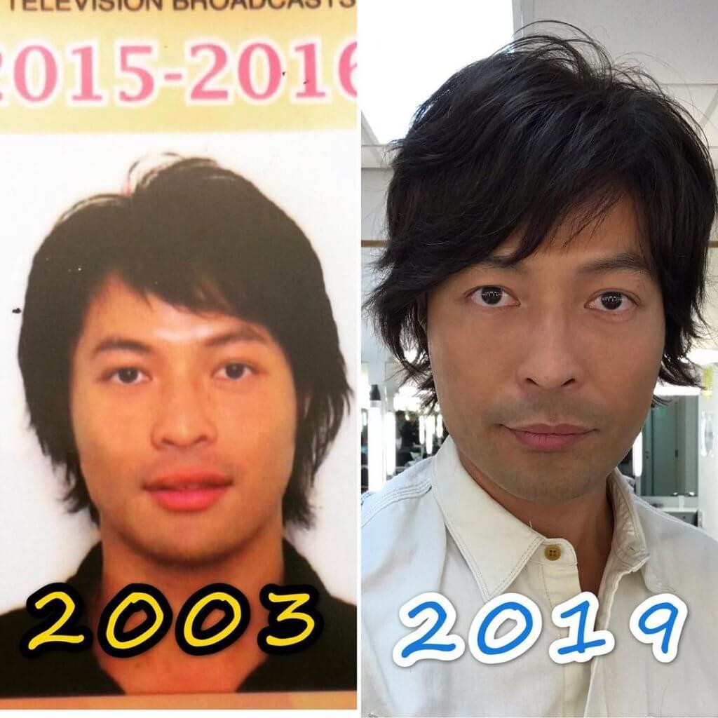 ○三年初入無綫的張達倫(左)頭髮略長,當時他演了多年閒角。