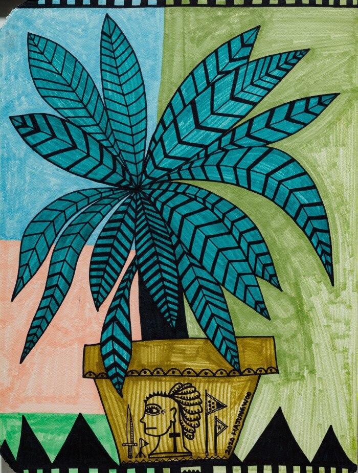 盆栽中的人像圖騰頗有玩味