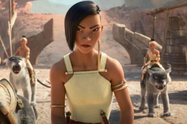 龍牙族族長女兒拉美爾與雷雅的對決武打動作場面,十足真人片。