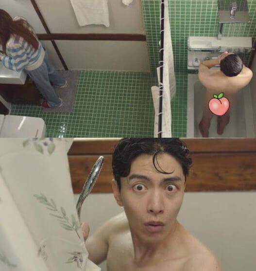被NaNa撞見沖涼一幕,李民基「全裸」畫面只以一隻桃遮住屁股,好搞笑。