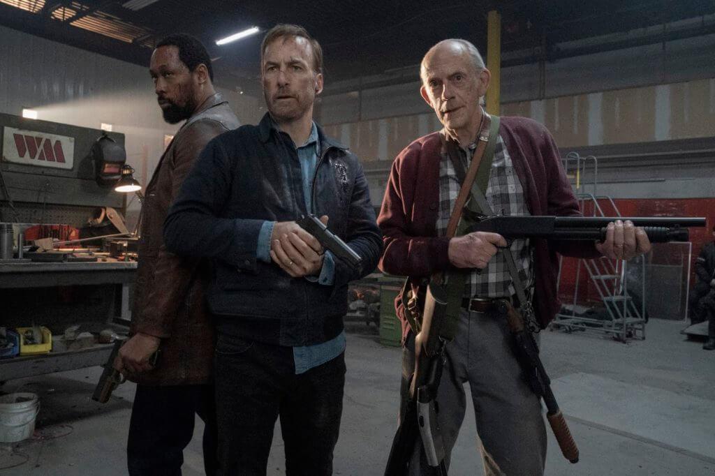 男主角卜奧登科克(中)在《殺神Nobody》中與《回到未來》老牌演員基斯杜化萊及音樂人RZA齊齊化身暴力勁揪的喋血三雄