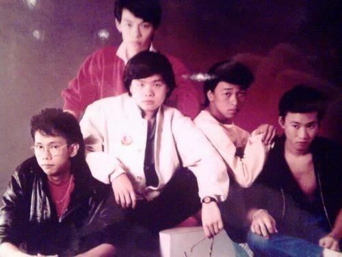 太極未出現之前,鄧建明(左)和唐奕聰(中)及黃家駒、黃家強兄弟組成Laser樂隊,一起到蛇口演出。
