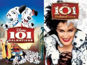 《101斑點狗》動畫版(左)和真人版(右)