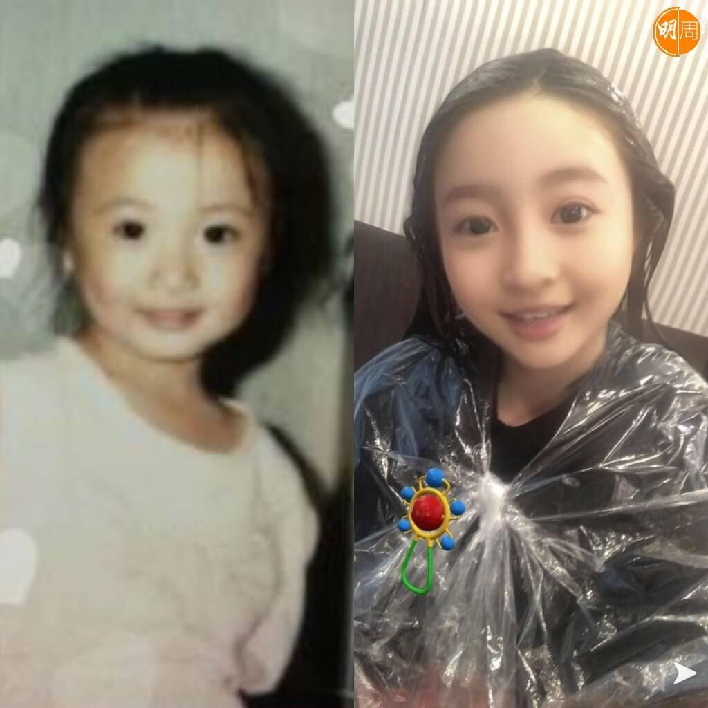 林夏薇在廈門出生,左更是真童年照,右面是她用電話app製造的虛擬童年照。