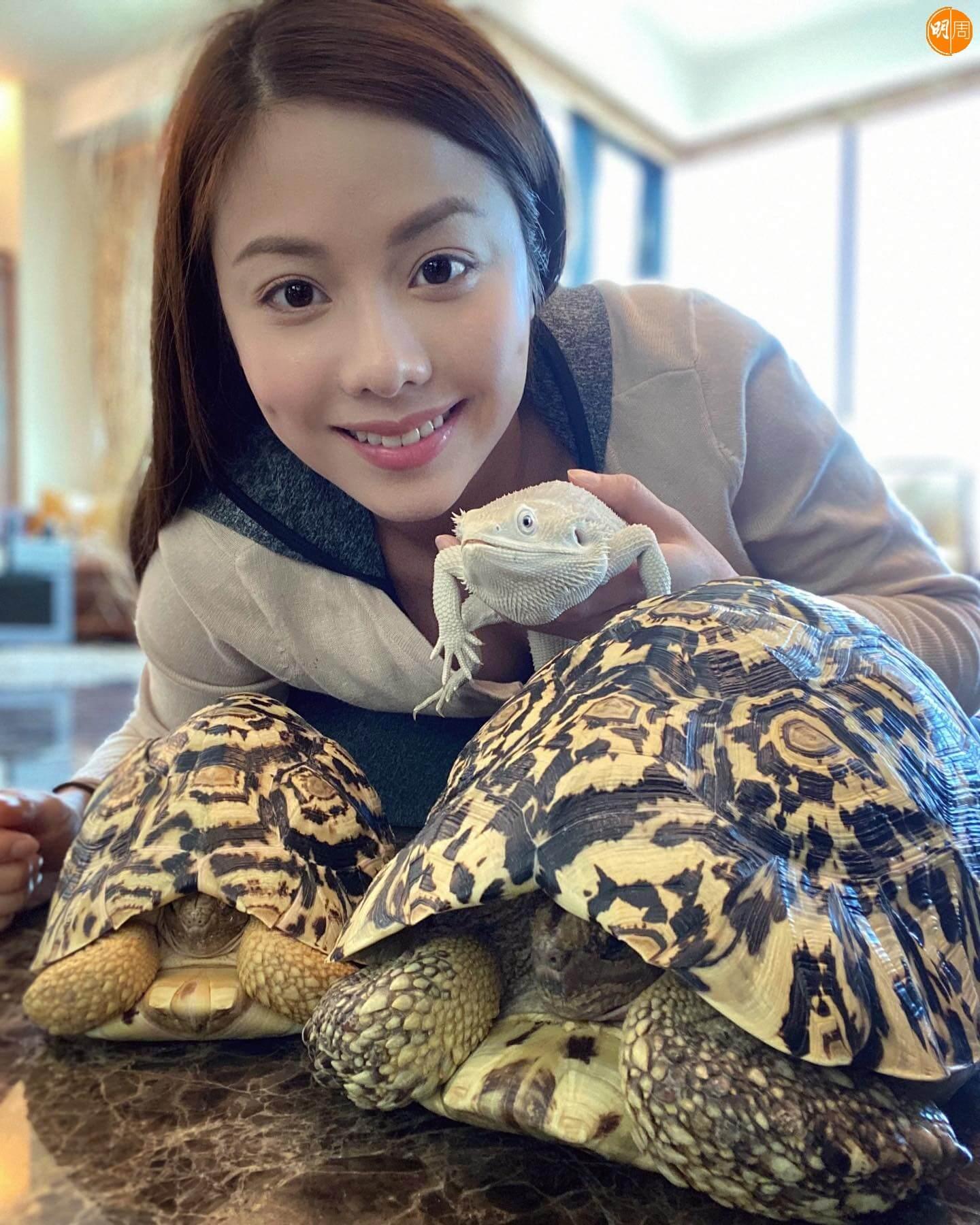 熱愛小動物的她曾飼養鸚鵡、蛇及蜥蜴等。