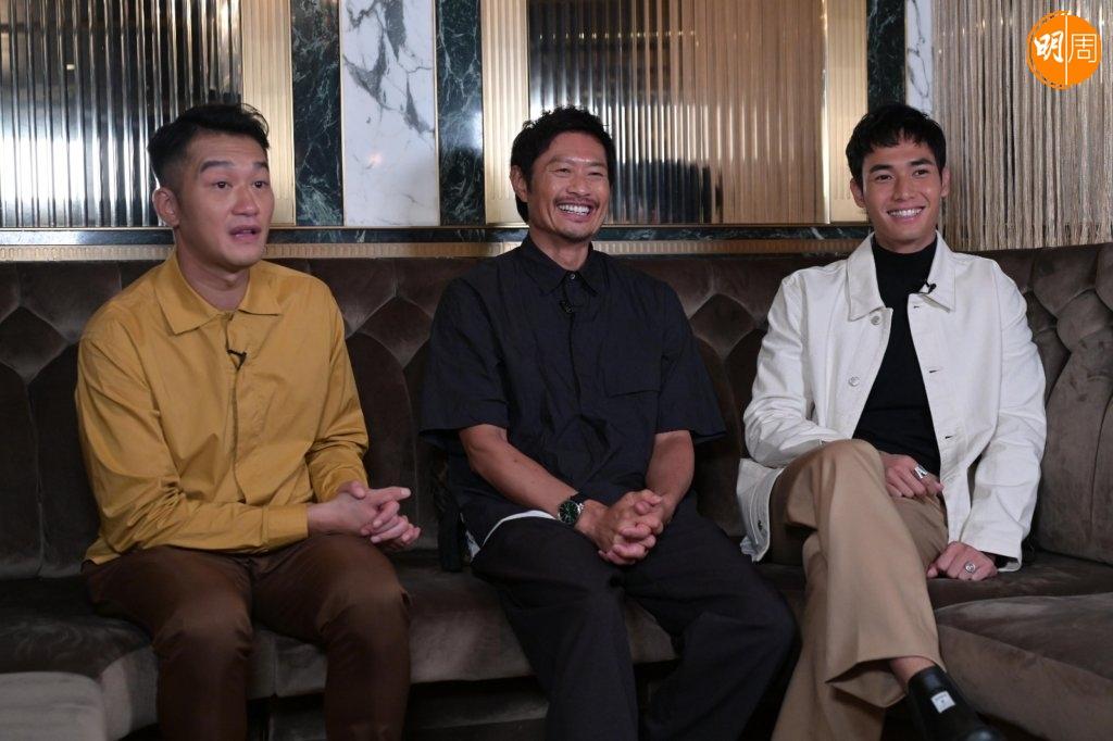 (左起)吳浩康、黃德斌及楊天宇在《怒火》甚多對手戲,三人私下會經常互相分享做運動。