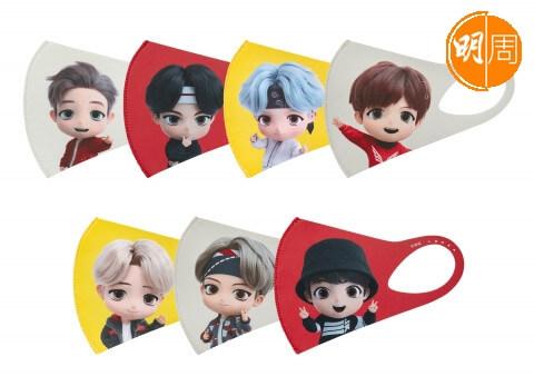 BTS 口罩印上成員們的卡通版樣子,粉絲們可選擇心儀成員款式。