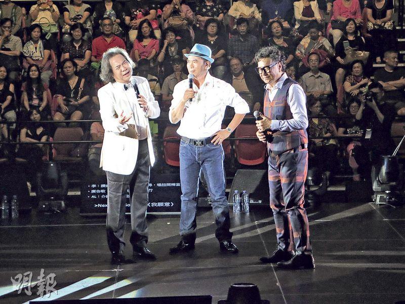 威利(左起)、李龍基及張武孝合體開演唱會,大唱自己及別人的金曲。(攝影/記者:鍾一虹)