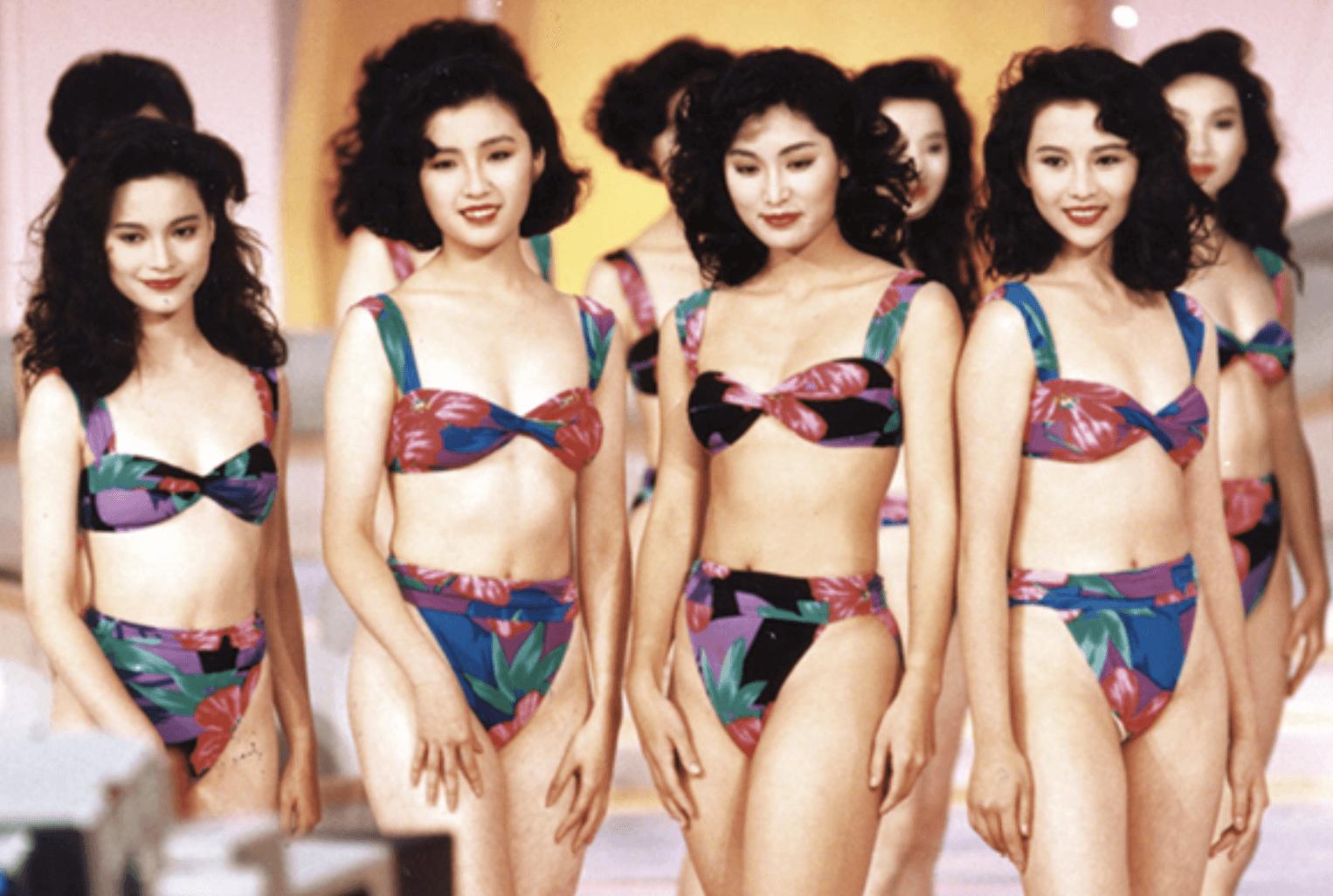 九一年港姐,(左起)最上鏡小姐樊奕敏、何婉盈、亞軍周嘉玲、季軍蔡少芬。
