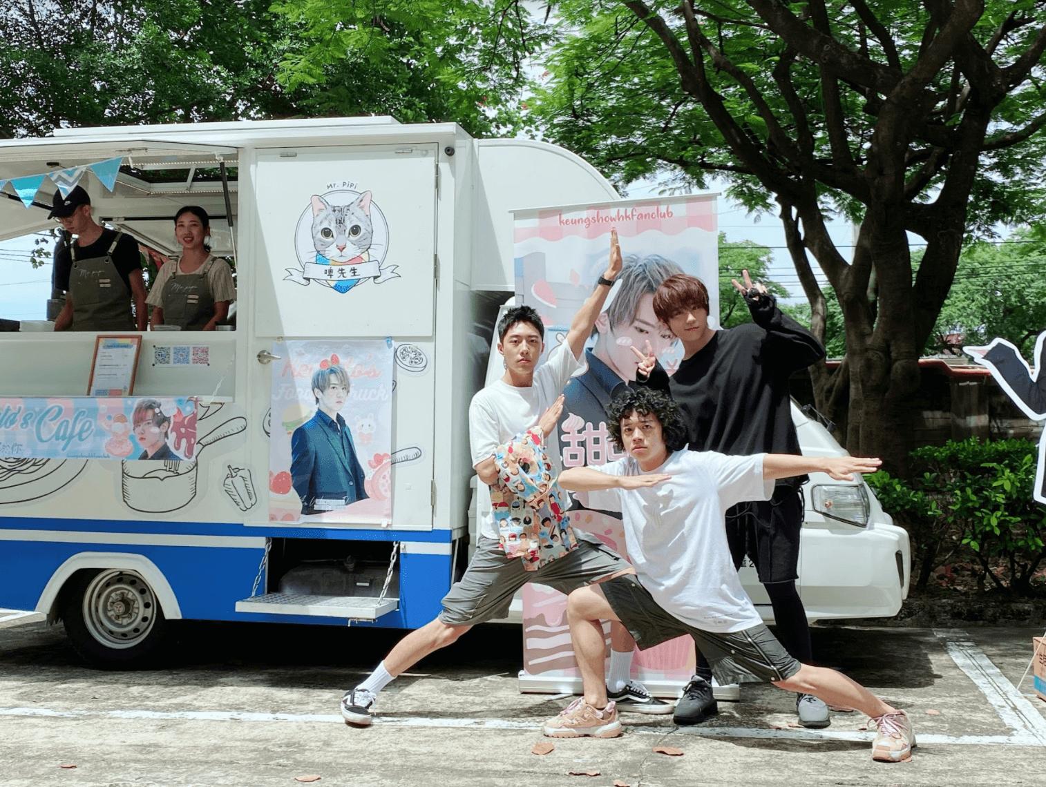 姜濤在台灣拍劇認識的新朋友和對手(左)蔡凡熙(前)洪群鈞
