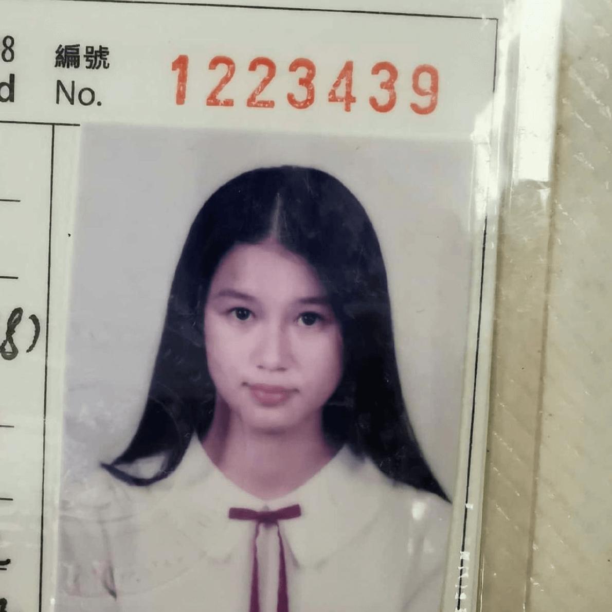 翠如中學時期留長髮,少女味十足