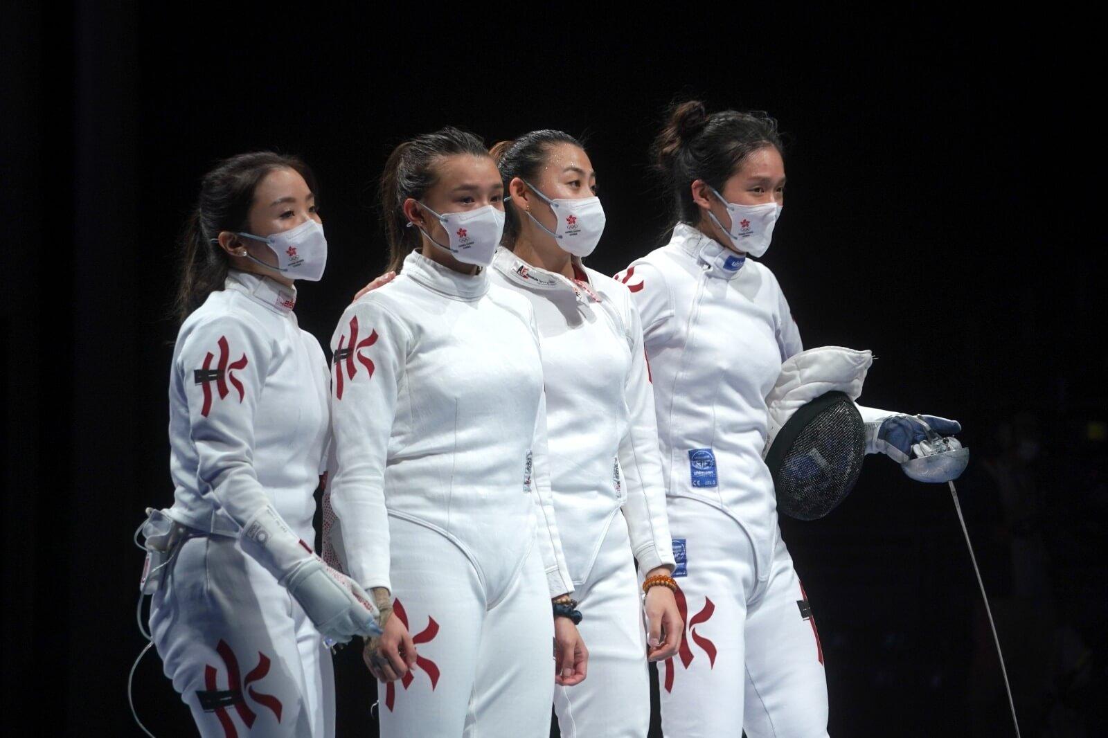 東京奧運女子重劍團體賽今日展開,由江旻憓、佘繕妡、連翊希及朱嘉望組成嘅港隊喺五至八名排名賽31:42不敵美國後,轉戰七至八名排名賽,同俄羅斯奧委會爭奪第7名。